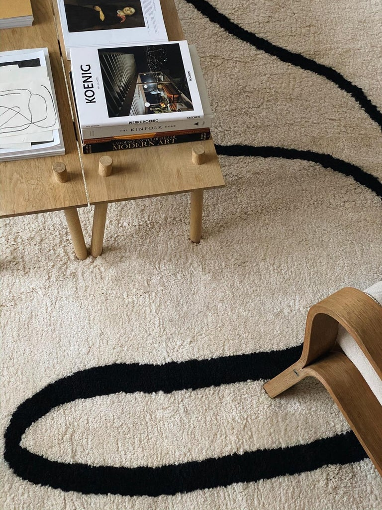 Contemporary Simple Object 18 Dusty White, Wool Shaggy Berber Rug in Scandinavian Design For Sale