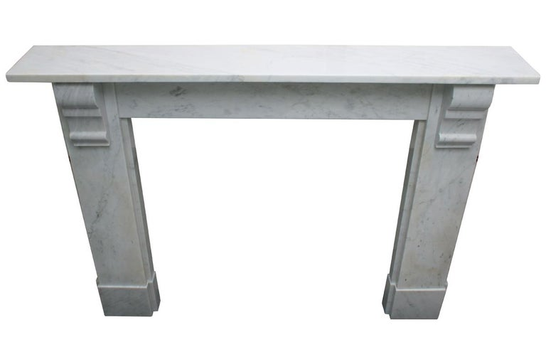 Simple Reclaimed Victorian Carrara Marble Fireplace Surround For Sale 5