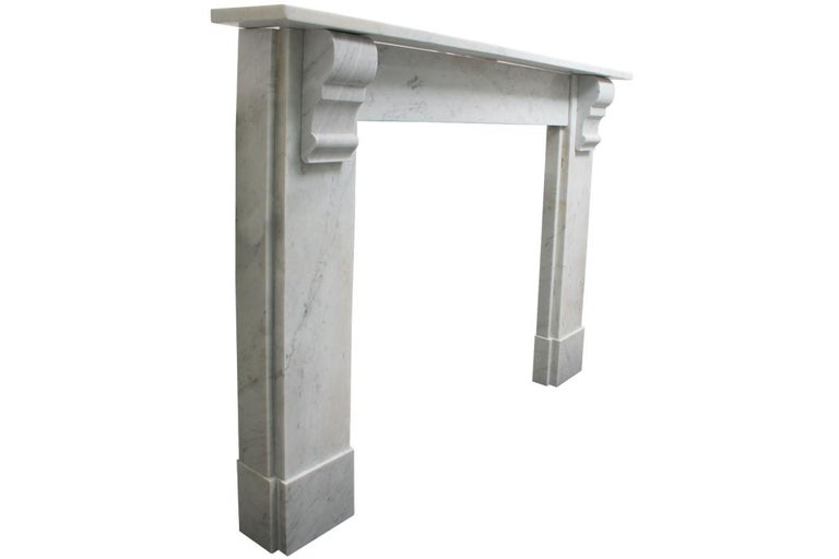 Simple Reclaimed Victorian Carrara Marble Fireplace Surround In Good Condition For Sale In Manchester, GB