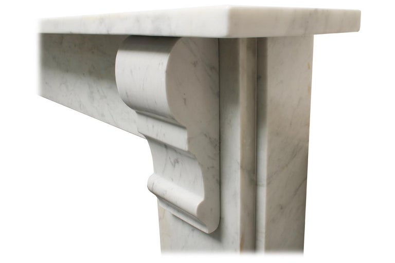 19th Century Simple Reclaimed Victorian Carrara Marble Fireplace Surround For Sale