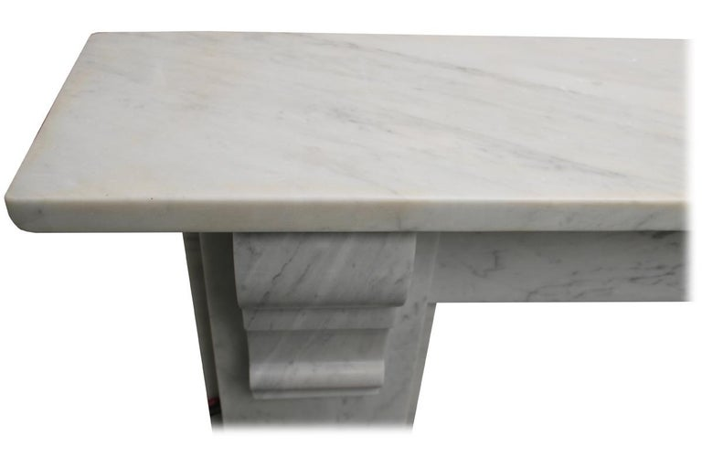 Simple Reclaimed Victorian Carrara Marble Fireplace Surround For Sale 2