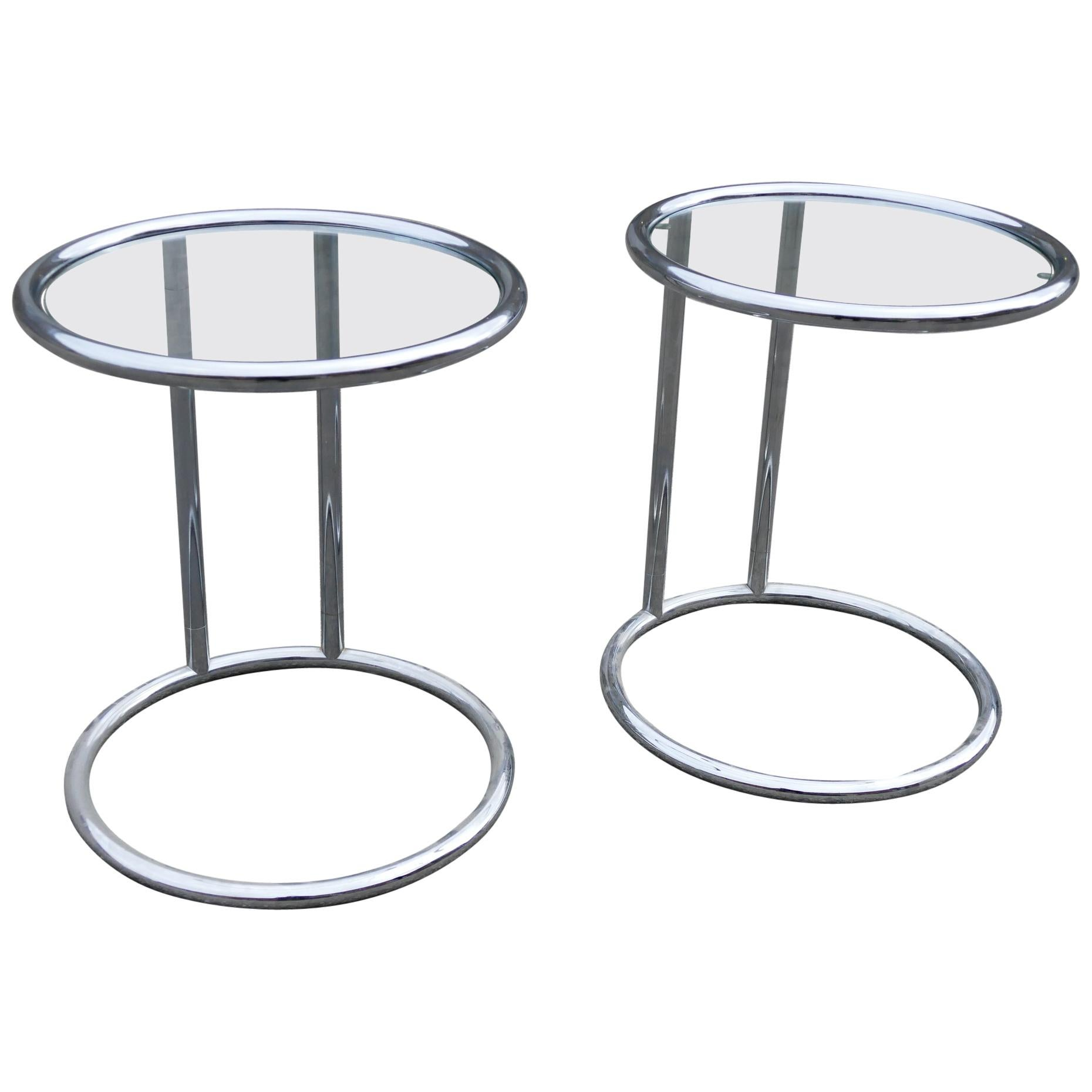 Simple Side Tables Chrome Glass, 1980s