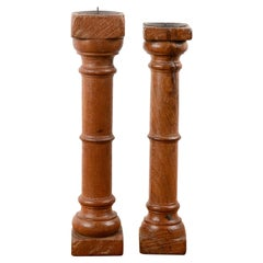 Simple Turned Wooden Candlesticks, 20th Century