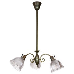 Simple Victorian Brass Chandelier w/ Ruffled Holophane Glass Shades