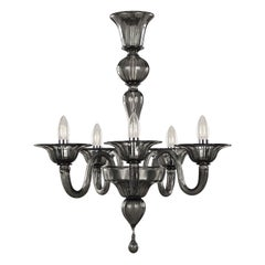 Classic Chandelier, 5 arms Dark Grey Murano Glass Simplicissimus by Multiforme
