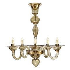 Chandelier 5 arms, smoky quartz Murano Glass Simplicissimus 360 by Multiforme