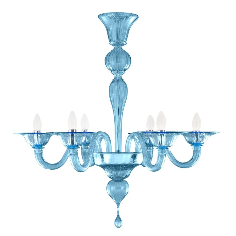 21st Century Chandelier, 6 arms Light Blue Murano Glass by Multiforme For Sale