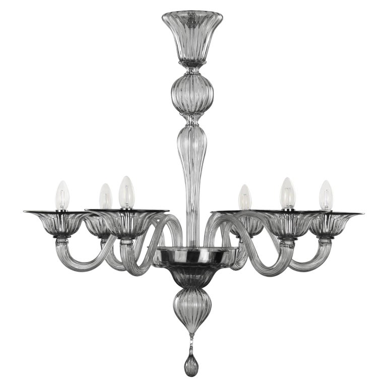 Contemporary Chandelier, 6 arms Light Grey Murano Glass by Multiforme For Sale