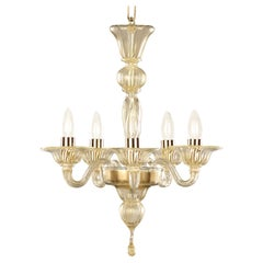Simplicissimus 360 Chandelier, 5 Lights, Gold Mottled Murano Glass by Multiforme