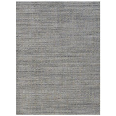 Simplicity Blue Beige Contemporary Handwoven Rug, 9' x 12'
