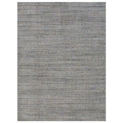 Simplicity Blue Beige Contemporary Handwoven Rug, 8' x 10'
