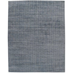 Simplicity Blue Gray Contemporary Handwoven Rug, 10' x 14'
