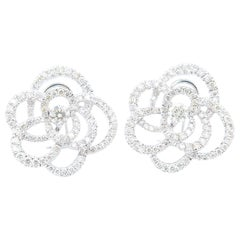 Simplified Camellia Diamond Clip-On Earrings in 18 Karat White Gold