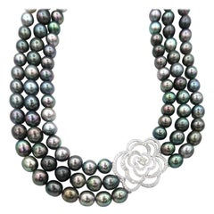 Simplified Camellia Diamond White Gold Motif 3-Strand Tahitian Pearl Necklace