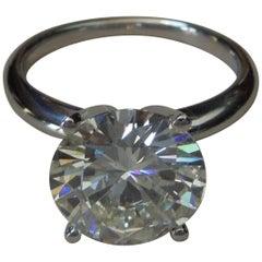 Simply Classic 4.10 Carat GIA Diamond Platinum Solitaire Ring