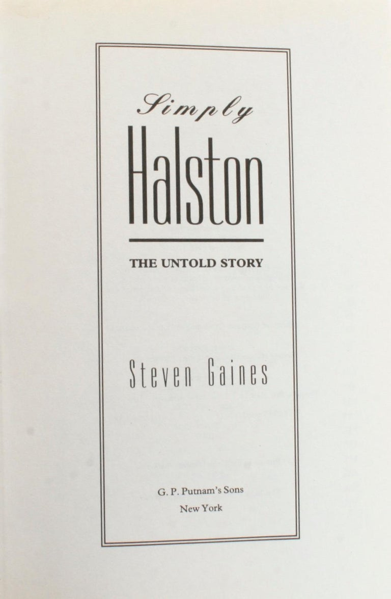 American Simply Halston, The Untold Story by Steven Gaines, Signed First Edition For Sale