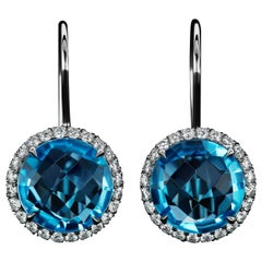 JAG New York Blue Topaz and Diamond Halo Platinum Earrings