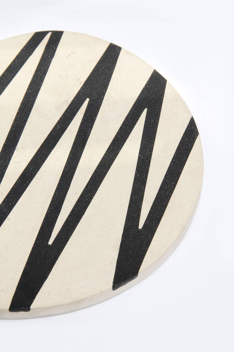 Board or Serving Plate Stone Resin Contemporary Style Black/White  For Sale 2