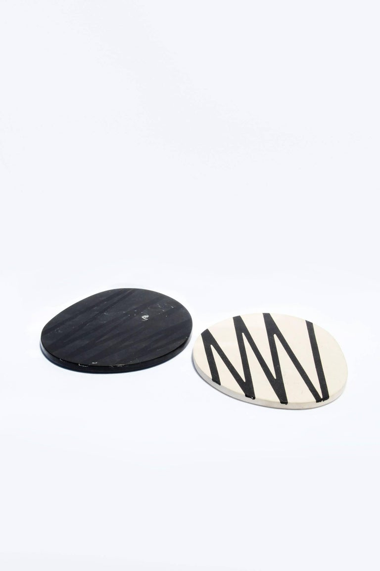 Board or Serving Plate Stone Resin Contemporary Style Black/White  For Sale 6