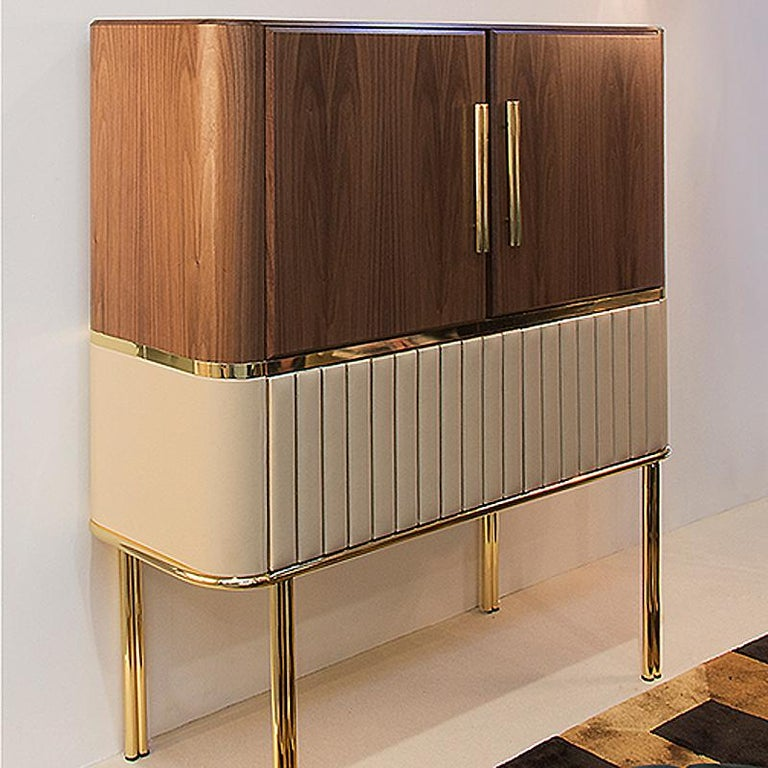 Sinatra Cabinet in Solid Walnut Wood and Polished Brass ...