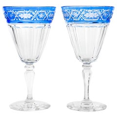 Sinclaire 12 Blue Cut to Clear Crystal Water Goblets