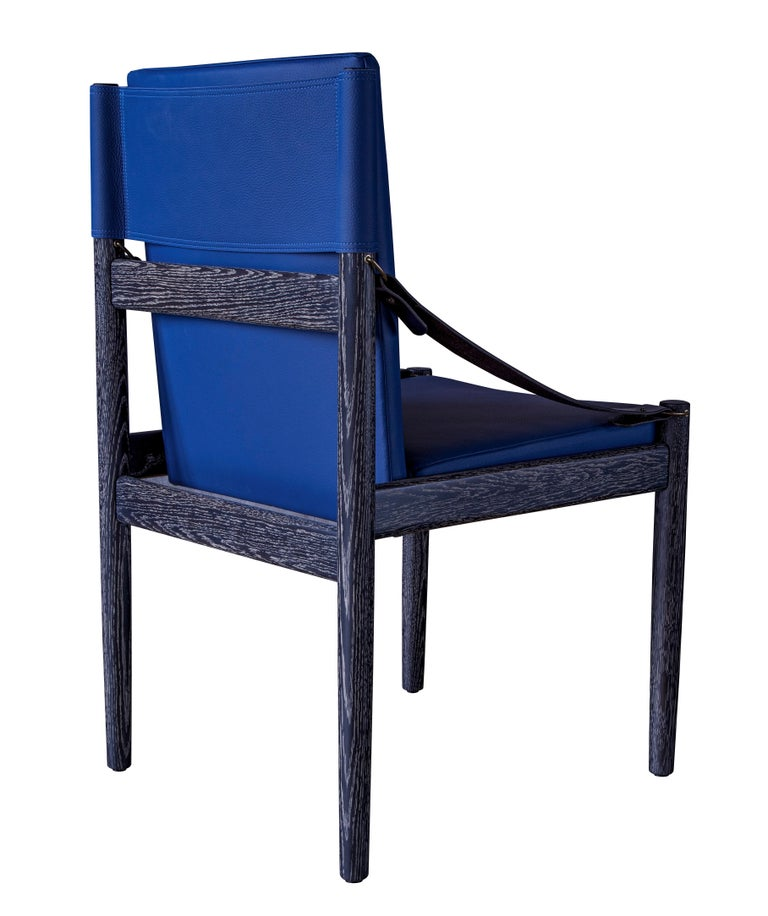 Modern Sindhu Chair, Ebonized Oak and Leather, Handcrafted by Richard Wrightman Design For Sale