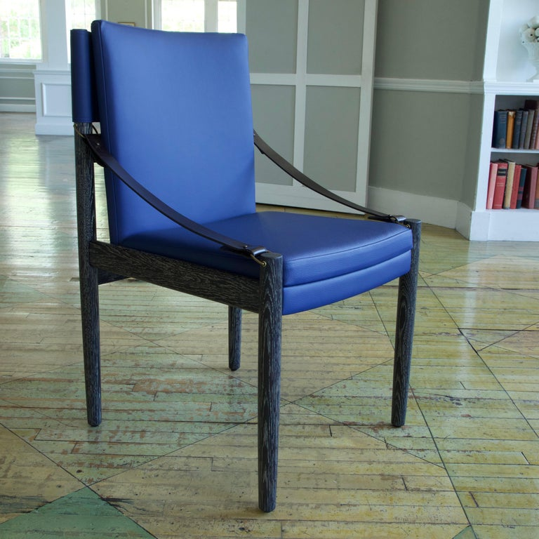 American Sindhu Chair, Ebonized Oak and Leather, Handcrafted by Richard Wrightman Design For Sale