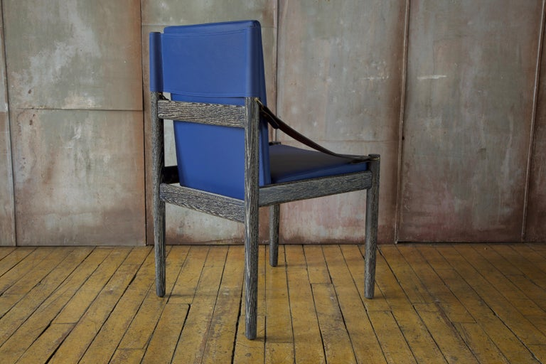 Sindhu Chair, Ebonized Oak and Leather, Handcrafted by Richard Wrightman Design In New Condition For Sale In Long Island City, NY