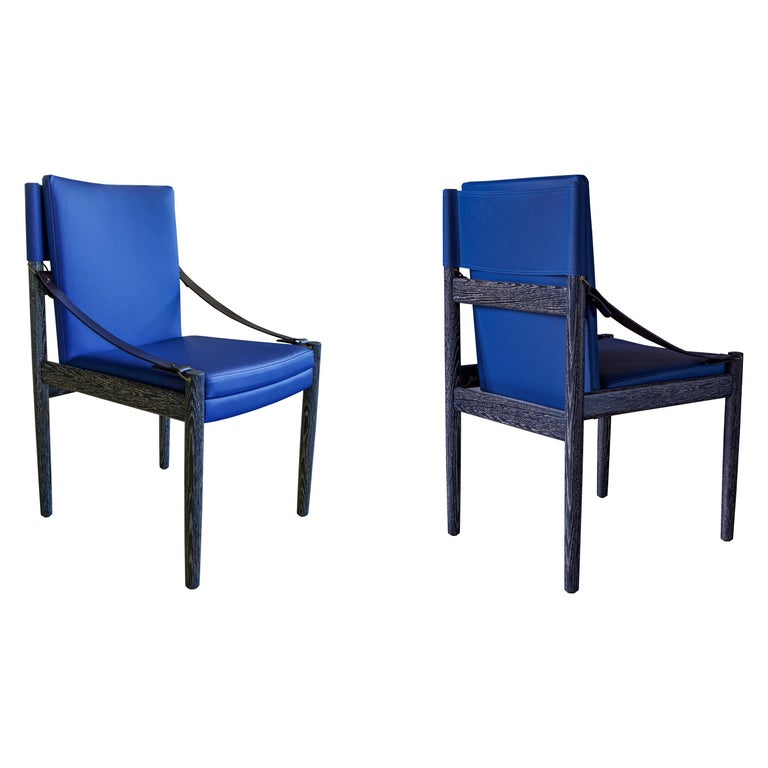 Sindhu Chair, Ebonized Oak and Leather, Handcrafted by Richard Wrightman Design For Sale