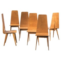 Sineo Gemignani Set of Six Chairs in Curved Wood Italian Manufacture 1940s