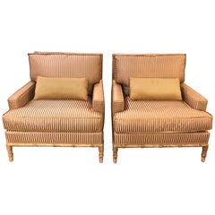 Sinfully Luxurious Pair of Bamboo and Silk Velvet Upholstered Club Chairs