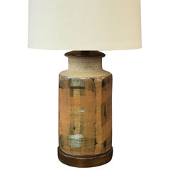 Signed Brent Bennett Glazed Stoneware and Walnut Table Lamp, 1960s