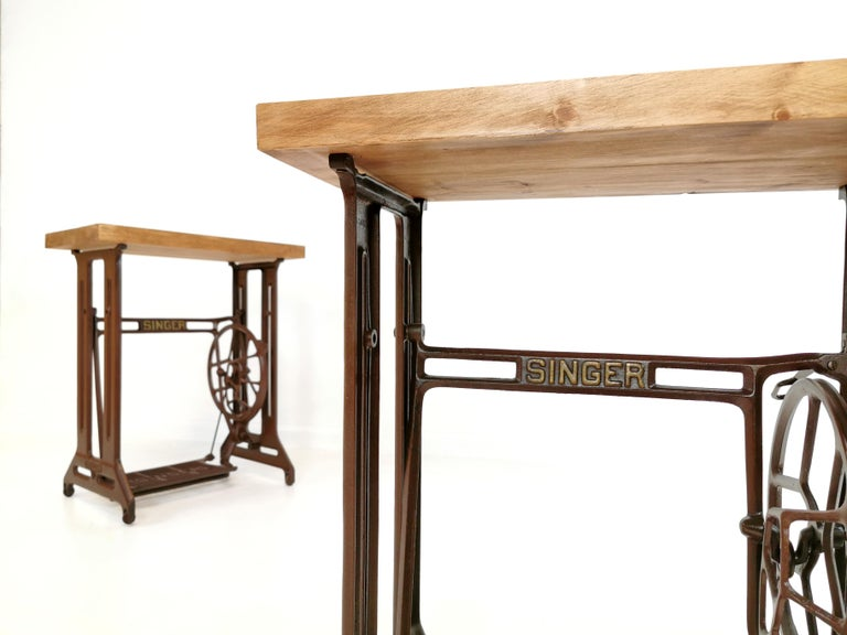 Scottish Singer Art Deco Industrial Side Treadle Tables Vintage Coffee Side Hall Stands