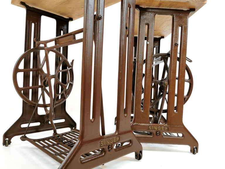Mid-20th Century Singer Art Deco Industrial Side Treadle Tables Vintage Coffee Side Hall Stands