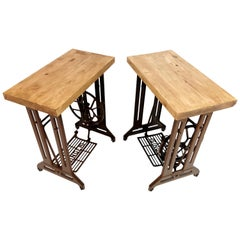 Singer Art Deco Industrial Side Treadle Tables Vintage Coffee Side Hall Stands