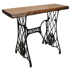 Singer Cast Iron Victorian Sewing Machine Base Console Desk Live Edge Slab Top