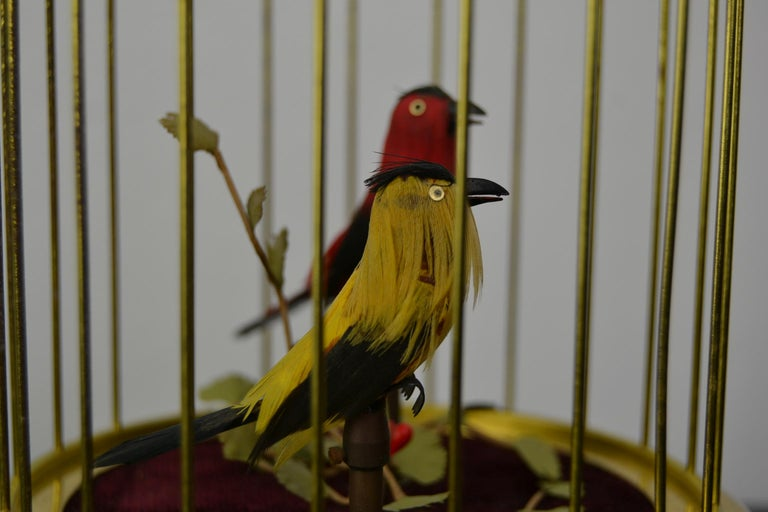 Singing Bird Cage Automaton by Hasu Germany, Mid-20th Century For Sale 6