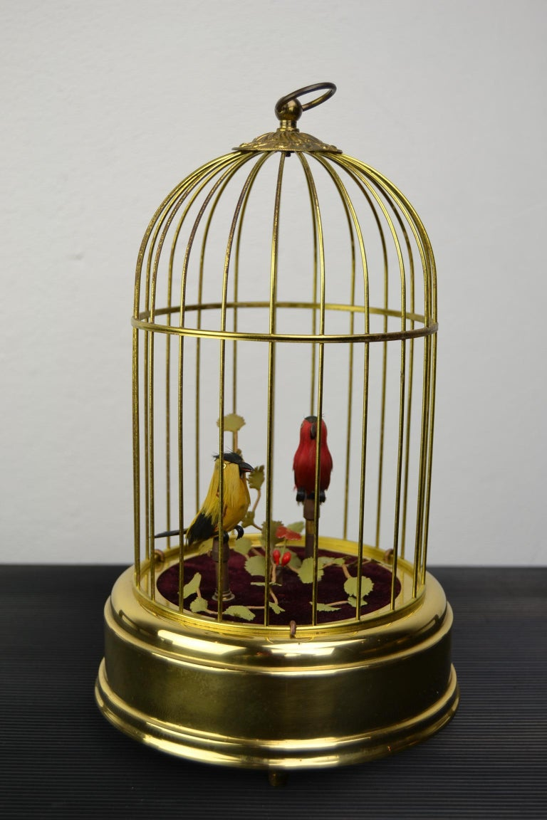Singing Bird Cage Automaton by Hasu Germany, Mid-20th Century For Sale 8