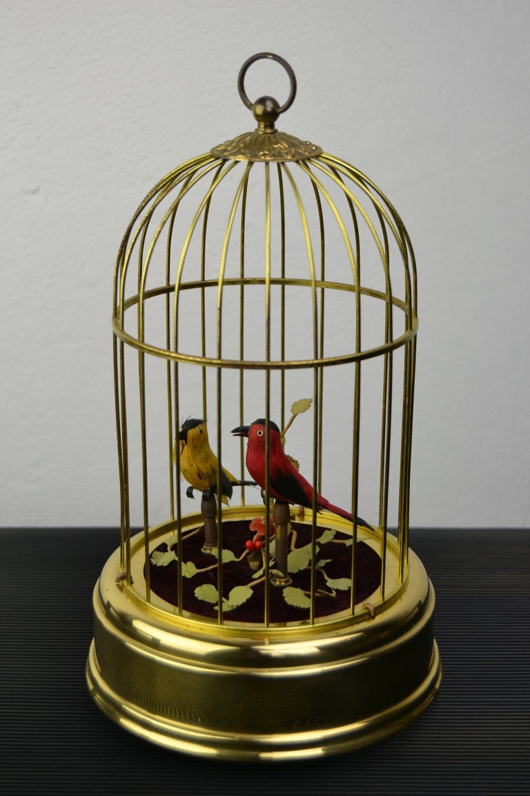 Singing Bird Cage Automaton by Hasu Germany, Mid-20th Century For Sale 9