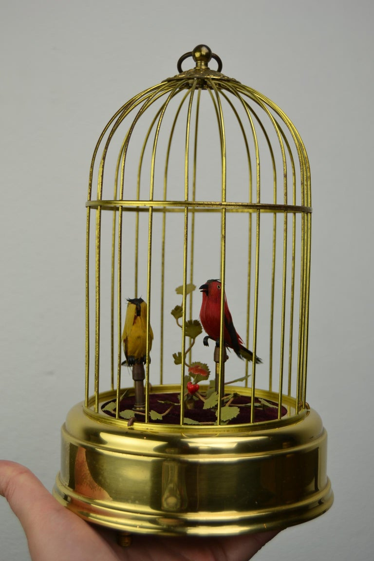 Singing Bird Cage Automaton by Hasu Germany, Mid-20th Century For Sale 15