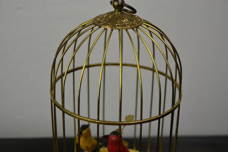 Brass Singing Bird Cage Automaton by Hasu Germany, Mid-20th Century For Sale