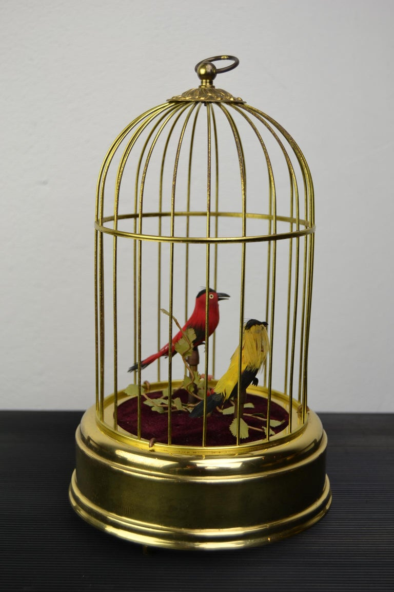 Singing Bird Cage Automaton by Hasu Germany, Mid-20th Century For Sale 4