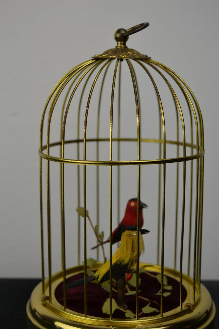 Singing Bird Cage Automaton by Hasu Germany, Mid-20th Century For Sale 5