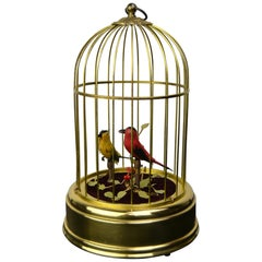 Singing Bird Cage Automaton by Hasu Germany, Mid-20th Century