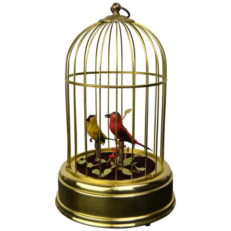 Singing Bird Cage Automaton by Hasu Germany, Mid-20th Century For Sale
