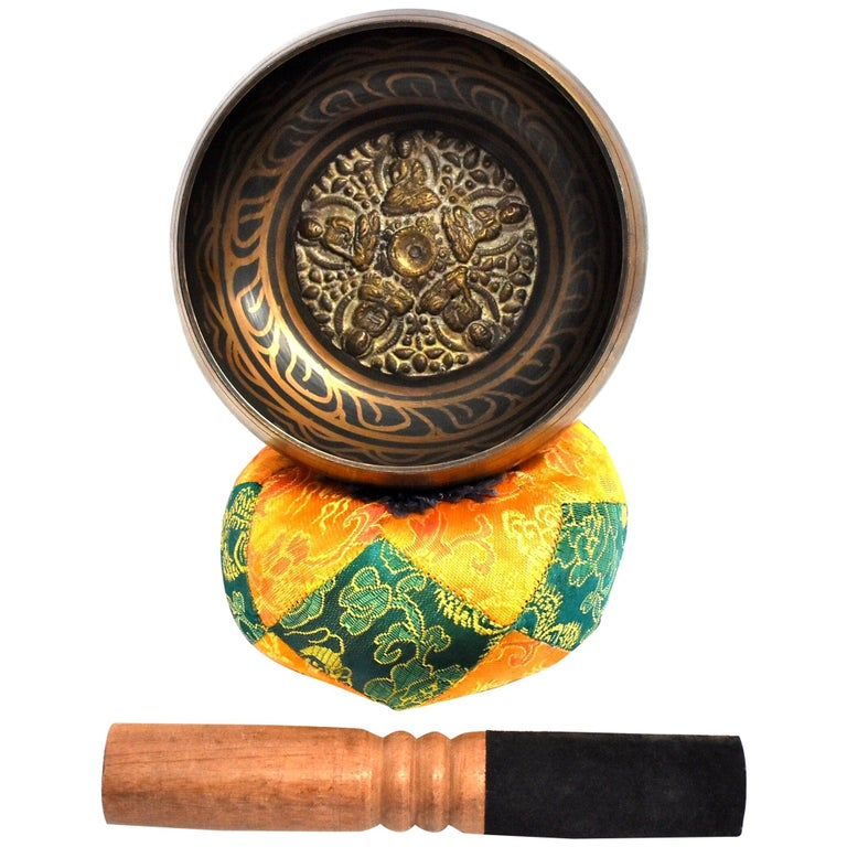 Singing Bowl Set Embossed Tibetan For Sale