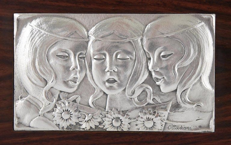 Mid-Century Modern Singing Girls Midcentury Sterling Silver Wall Panel