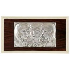 Singing Girls Midcentury Sterling Silver Wall Panel Ottaviani, Italy, 1960
