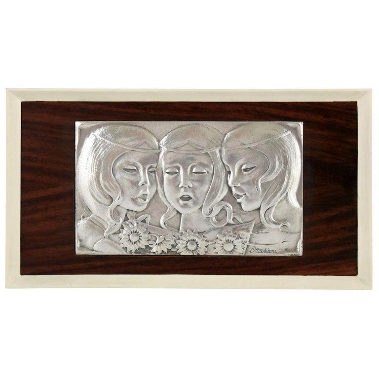 Singing Girls Midcentury Sterling Silver Wall Panel