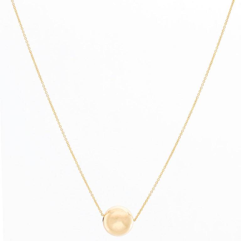 Women's Single 14 Karat Yellow Gold Ball Necklace For Sale